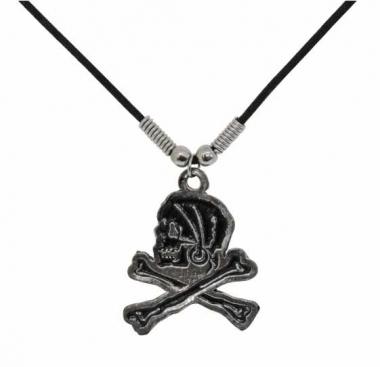 Schwarzer Pirat Halskette mit Baumwollkordel