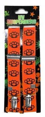 Neon oranger Hosenträger mit Schlagringen