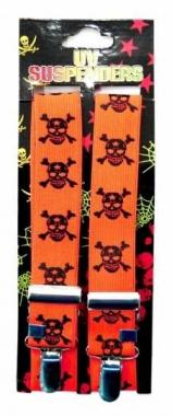 Neon orange Hosenträger mit Totenköpfen