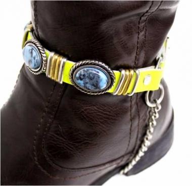 Leder Stiefelband - Blaue Steine
