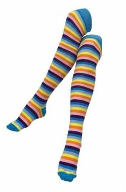 Over Knee Strümpfe Mehrfarbig gestreift
