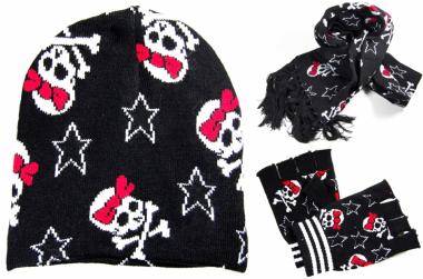 Rockabilly Style Winter Beanie - Handschuhe - Schal Set