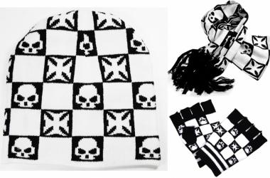 Schal - Handschuhe - Beanie Set Eisernes Kreuz und Totenkopf