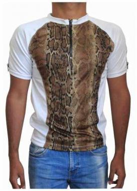 Weißes Unisex T-Shirt Schlangenhaut - Braun