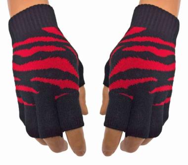 Fingerlose Handschuhe Zebra Rot