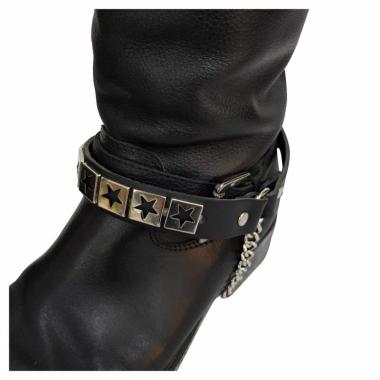 Schwarze Stiefelbänder mit Sternen Nieten