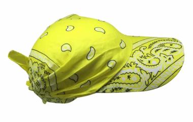 Sonnenschirm Cap mit gelbem Paisley Muster