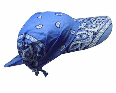Sonnenschirm Cap hell Blau mit Paisley Muster