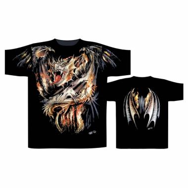 Biker T-Shirt Feuerdrache (Glow in the Dark)