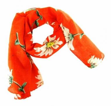 Bedrucktes Halstuch Blumenmuster Orange