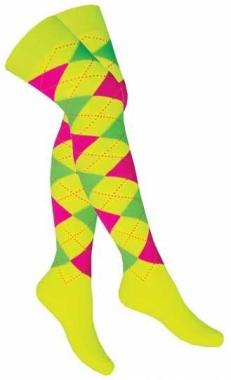 Over Knee Strümpfe Gelb mit Mehrfarbigen Karos