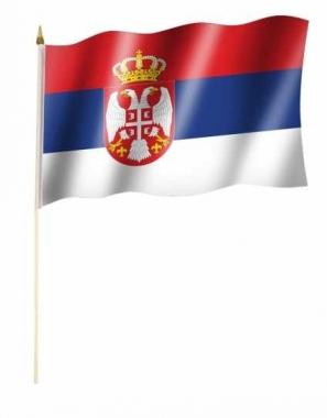 Serbien Wappen Stockfahnen
