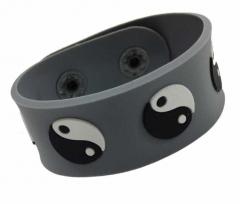 Silikon Armband - Yin Yang Grau