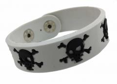 Silikon Armband - Totenköpfe Weiß