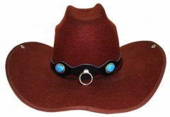 Leather Hatband - Blue Stone & Ring