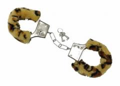 Plüsch Handschellen in Leoparden Optik