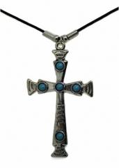 Halskette Kreuz mit blauen Steinchen
