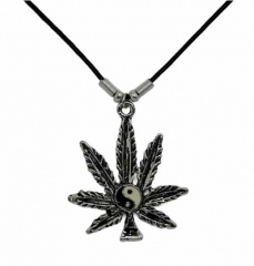 Motivhalskette Marihuana Hanfblatt Yin Yang