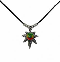 Halskette mit Anhänger Hanfblatt Rasta