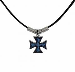 Anhänger kleines blaues eisernes Kreuz mit Baumwollkordel
