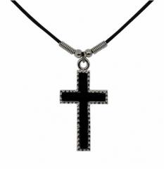 Baumwollkordel Kette mit mittelalterlichem Kreuz Anhänger aus Hartzinn