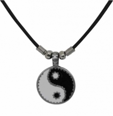 Yin Yang Anhänger aus Zinn mit Baumwollkordel