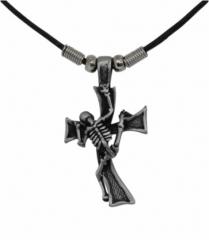 Halskette Sklelett besteigt Kreuz