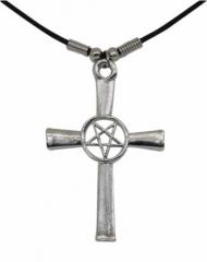 Drudenfuss im Kreuz Gothic Halskette