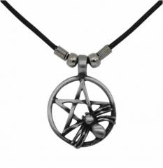 Gothic Halskette - Pentagramm mit Spinne
