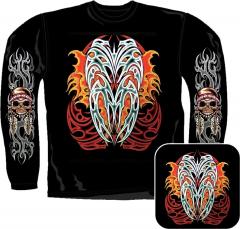 Sweatshirt - Feuer Tribal Mit Totenkopf