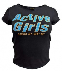 Damen Top Black Active Girls