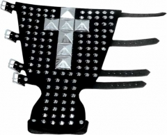 Leather Wristband - 111 Pointed Studs & 7 Pyramid Studs