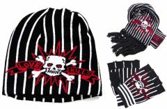 Schal mit Beanie und Hanschuhe im Set - Piraten Totenkopf Schwarz Rot Weiß