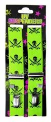 Neon gelber Hosenträger mit Totenköpfen