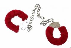 Flauschige Fußschellen - Rot