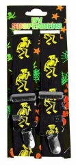 Black Suspender with neon yellow skeletons