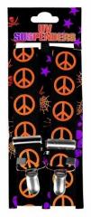 Schwarzer Hosenträger mit neonorangenen Peace-Zeichen