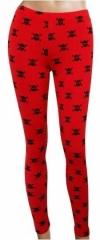LGL 003 - Leggings - Skulls - Red
