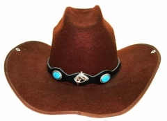Leather Hatband - Blue Stone & Horse