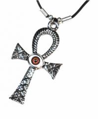 Gothic Halskette Kreuz & braunes Auge