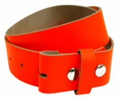 Leather Belt without Buckle - Neon Orange