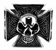 Steel Ring Set - Iron cross with skull
