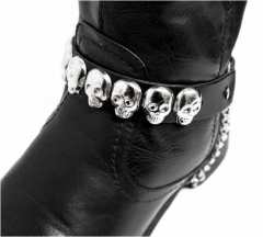 Leather Bootstrap - Skull Studs
