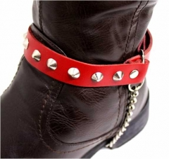 Leather Bootstrap - Pointed Studs