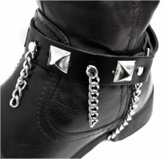 Leather Bootstrap - Pyramid Studs & Chains