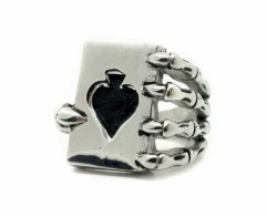 Stainless Steel Ring - Ace of Spade in a Skeleton Hand