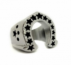 Stainless Steel Ring - Horseshoe & Stars