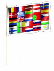 25 Europastaaten Stockfahnen