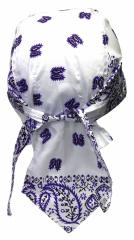 Bandana Kopftuch Weiß, Lila Paisley
