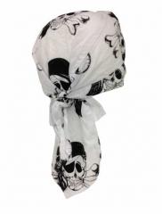 Bandana Kopftuch Weiß & Totenkopf